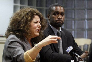 April, 2011 Civil Rights attorney Susan Chana Lask and Albert Florence at press conference