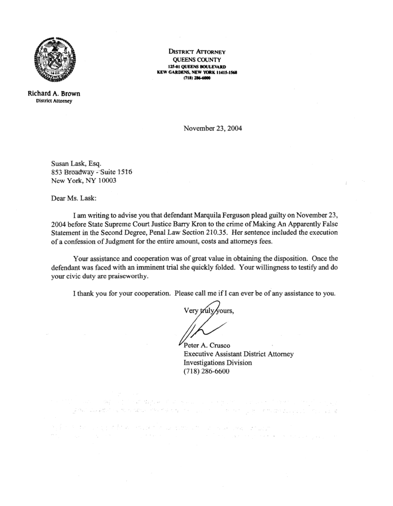 New York District Attorney Commends Susan Chana Lask