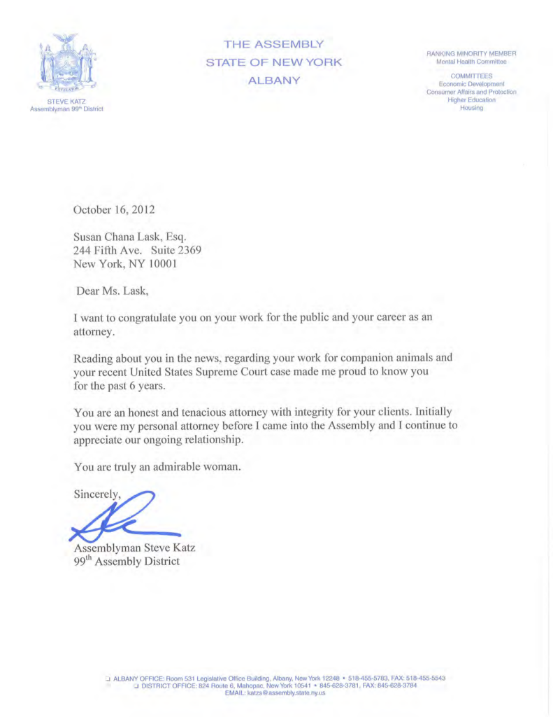 New York Assemblyman Katz Commends Susan Chana Lask's Career