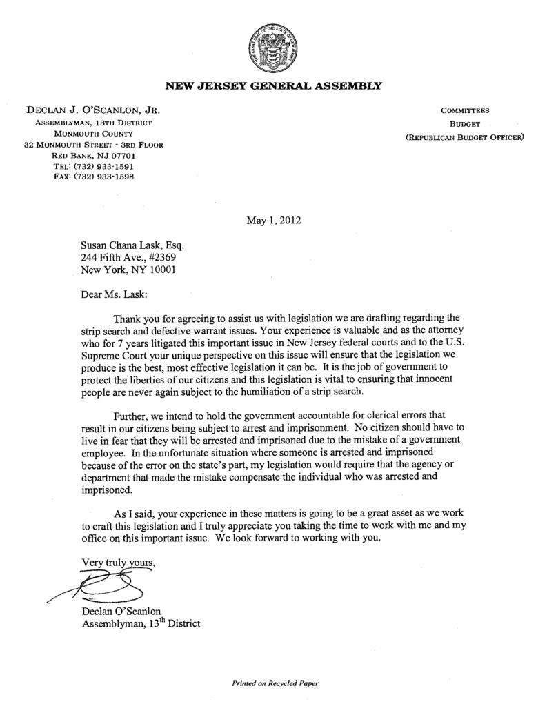 New Jersey Assemblyman O'Scanlon Commends Susan Chana Lask's Career