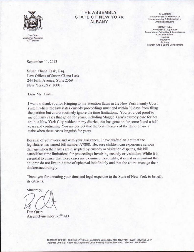 New York Assemblyman Quart Commends Susan Chana Lask's career